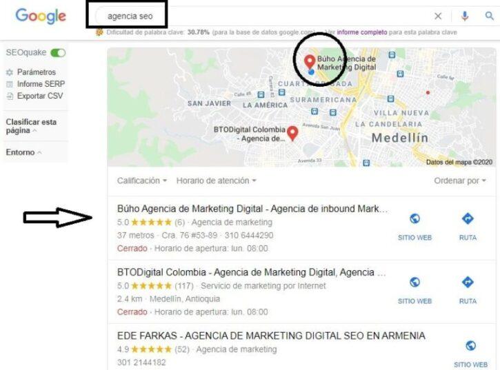 ejemplo de buho agencia digital en google my business en medellin