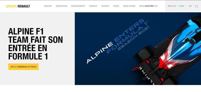 diseño de sitio web de renault en wordpress