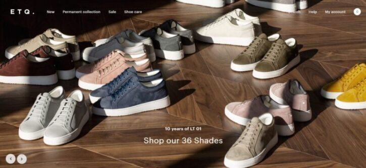 marca de zapatillas y su diseño de tienda ecommerce en wordpress
