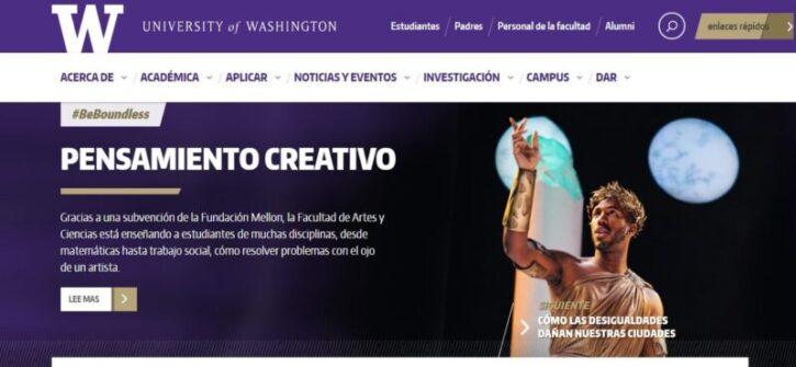 diseño de sitio web de la university of washington en wordpress