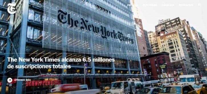 diseño de sitio web del diario new york time en wordpress
