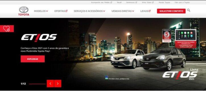 diseño de sitio web de la marca toyota en wordpress