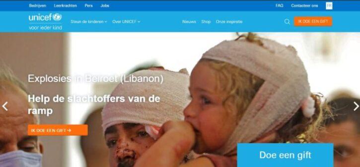 diseño de sitio web de unicef en wordpress