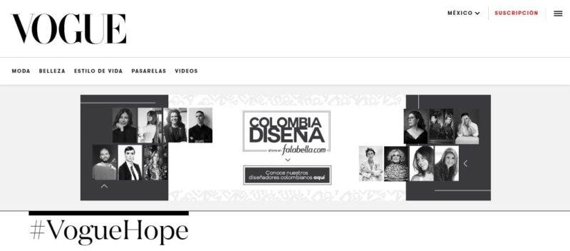diseño de sitio web wordpress de la marca vougue